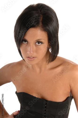 Attractive female wearing corsette
