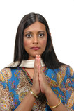 Indian lady in traditional attire welcomes you poster