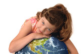 Little girl hugging planet earth poster