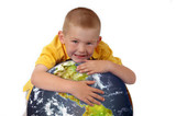 Little boy hugging planet earth poster