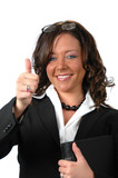 Businesswoman with binder poster