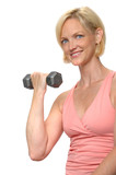 Woman working out with dumbbell poster