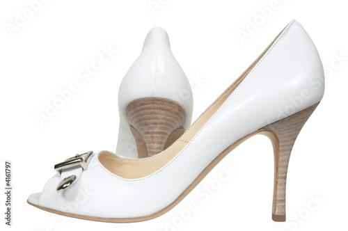 Celebratory female white shoes