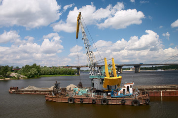 hydraulic dredge on barge