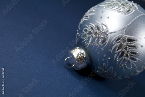 Silver Ornament on Blue
