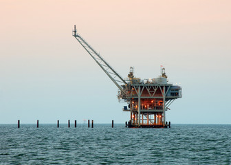 Oil Drilling Rig offshore in late afternoon light
