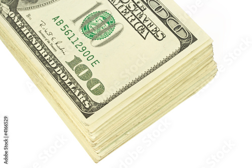 Roll of hundred dollars bank notes