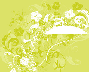 Grunge paint flower background with circle, vector illustration