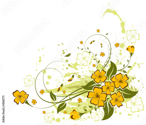 Grunge paint flower background, vector illustration