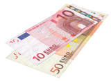 two Euro banknotes poster