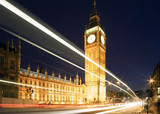 Fototapety Big Ben in London at night against blue sky. London traffic
