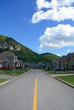 Prestigious suburban neighborhood in mountain area poster