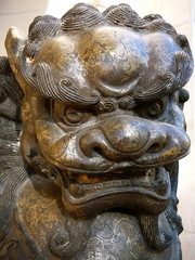 Detail of Chinese Dragon Sculpture Crafted of Bronze