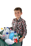 Child carrying recycling poster