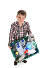 Boy holding recycling container