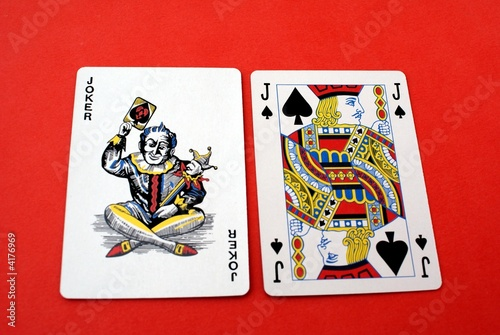 playing cards. Joker & Jack O Knave of spades