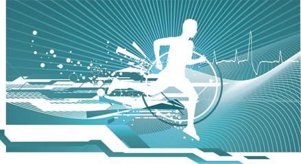athletic man  running on futuristic digital background