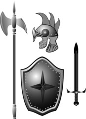 Knightly armour board, sword, helmet.