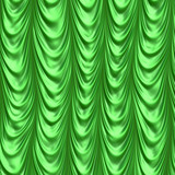 Illustration of green satin floor length stage curtains poster