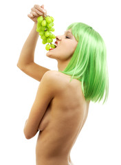 green hair girl with a bunch of grapes