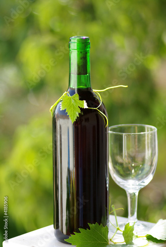 Bottle of red wine and glass