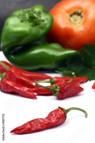 red peppers, green pepper and tomato