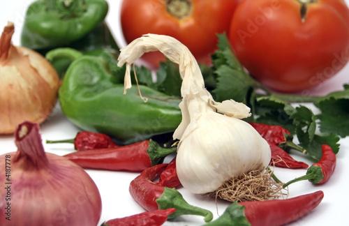 organic garlic and fresh vegetables