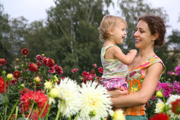 mother with dauther in the garden