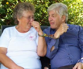Elderly couple, till death do us part