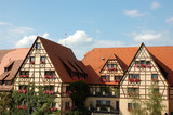 Traditional German half timbered houses  poster
