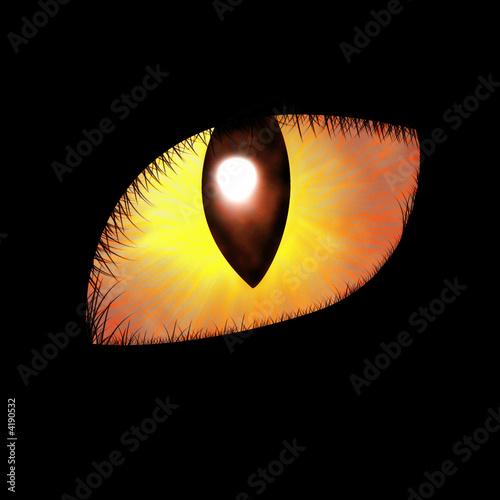 Glowing feline eye