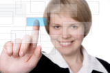 smile businesswoman press blue button poster