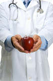 Doctor offering apple poster