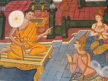 Храм Будды Mural Лаосе