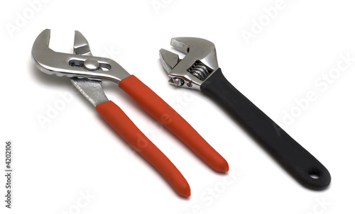 Engineers or construction tools on white background