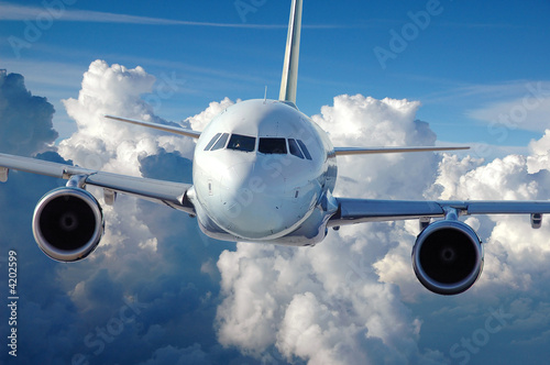 canvas print picture Commercial Airliner in Flight