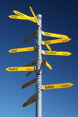 Panneau distance capitales