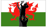 Rugby lineout with Welsh flag poster