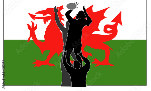 Rugby lineout with Welsh flag