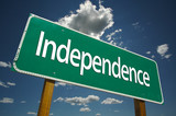Independence Road Sign with blue sky and clouds. poster