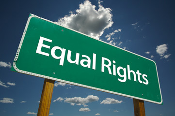 Equal Rights Road Sign with blue sky and clo