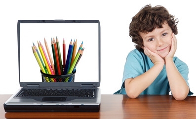 Child whit laptop