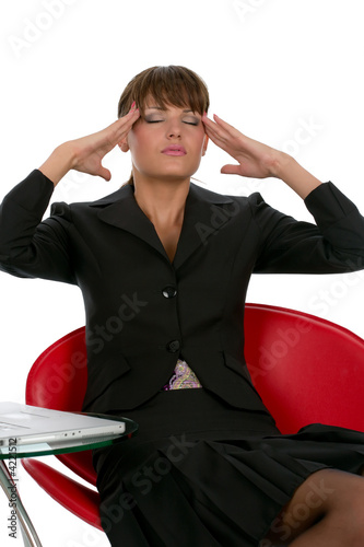 business woman feeling pain from stress migraine