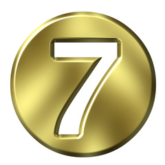 3D Golden Framed Number 7