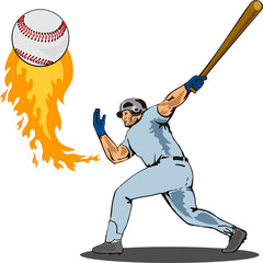 Baseball player striking a homer on white bg