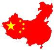 Carte de Chine rouge avec étoiles du drapeau