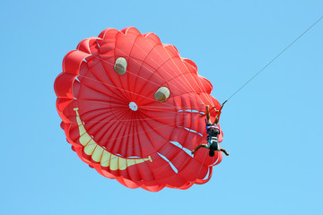 The parachuter flies headfirst