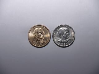 John Adams and Susan B Anthony Dollar coins