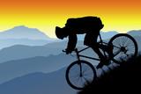 Fototapety mountain bike silhouette vista