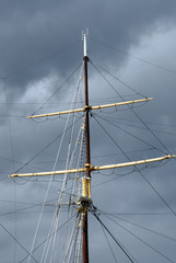 mast and rigging of a sailing schooner